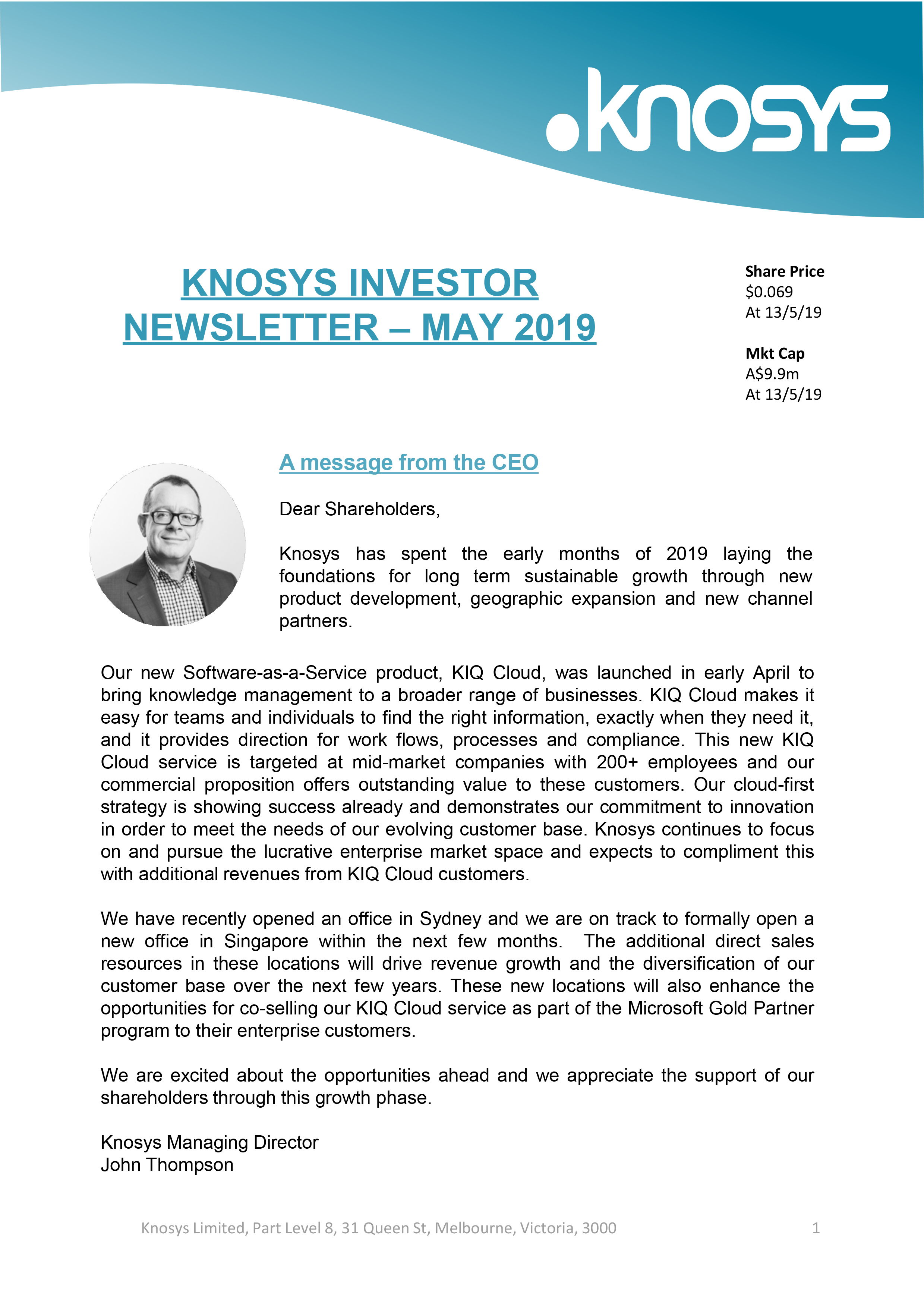 Knosys Investor Newsletter - May 2019-1