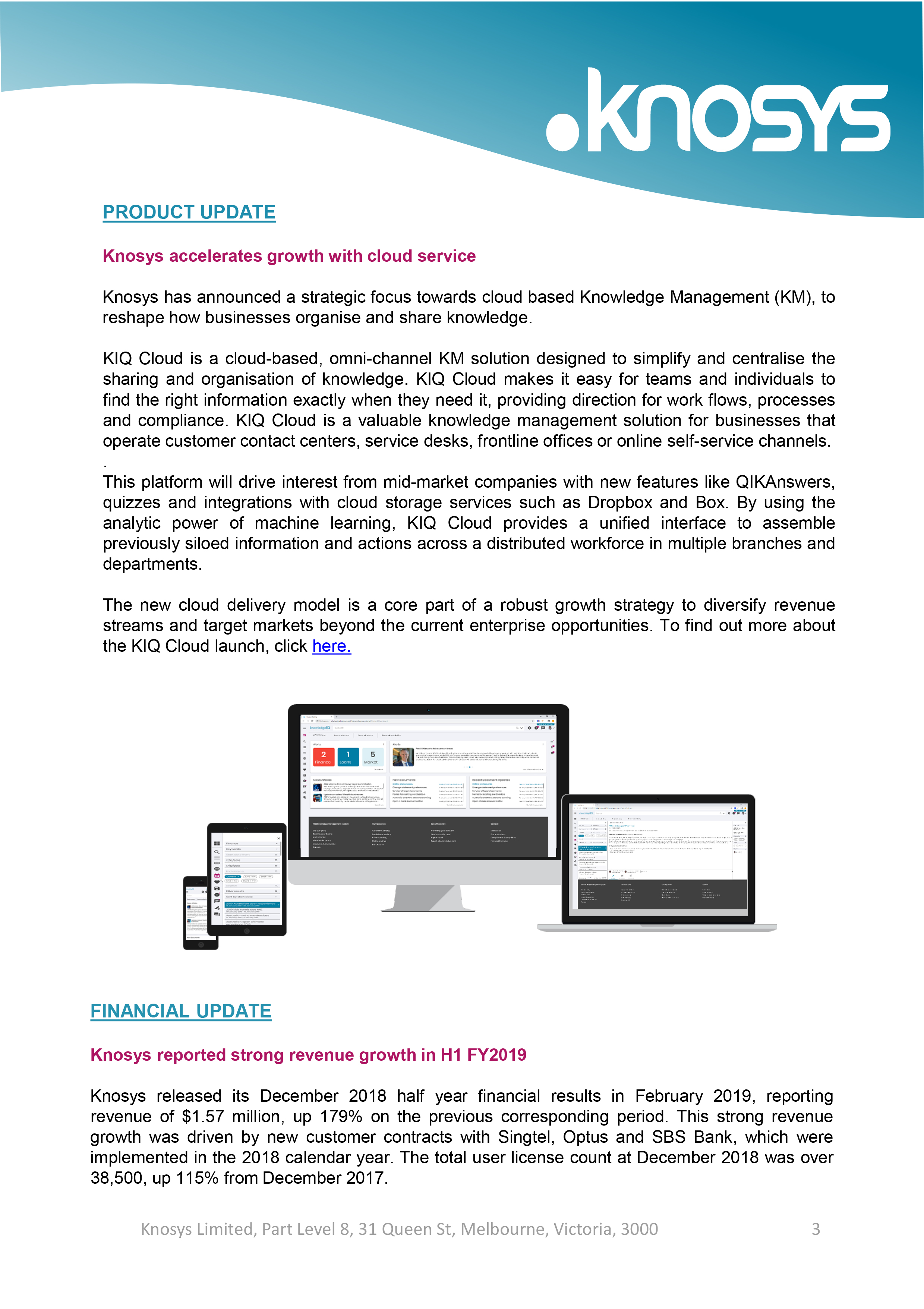 Knosys Investor Newsletter - May 2019-3