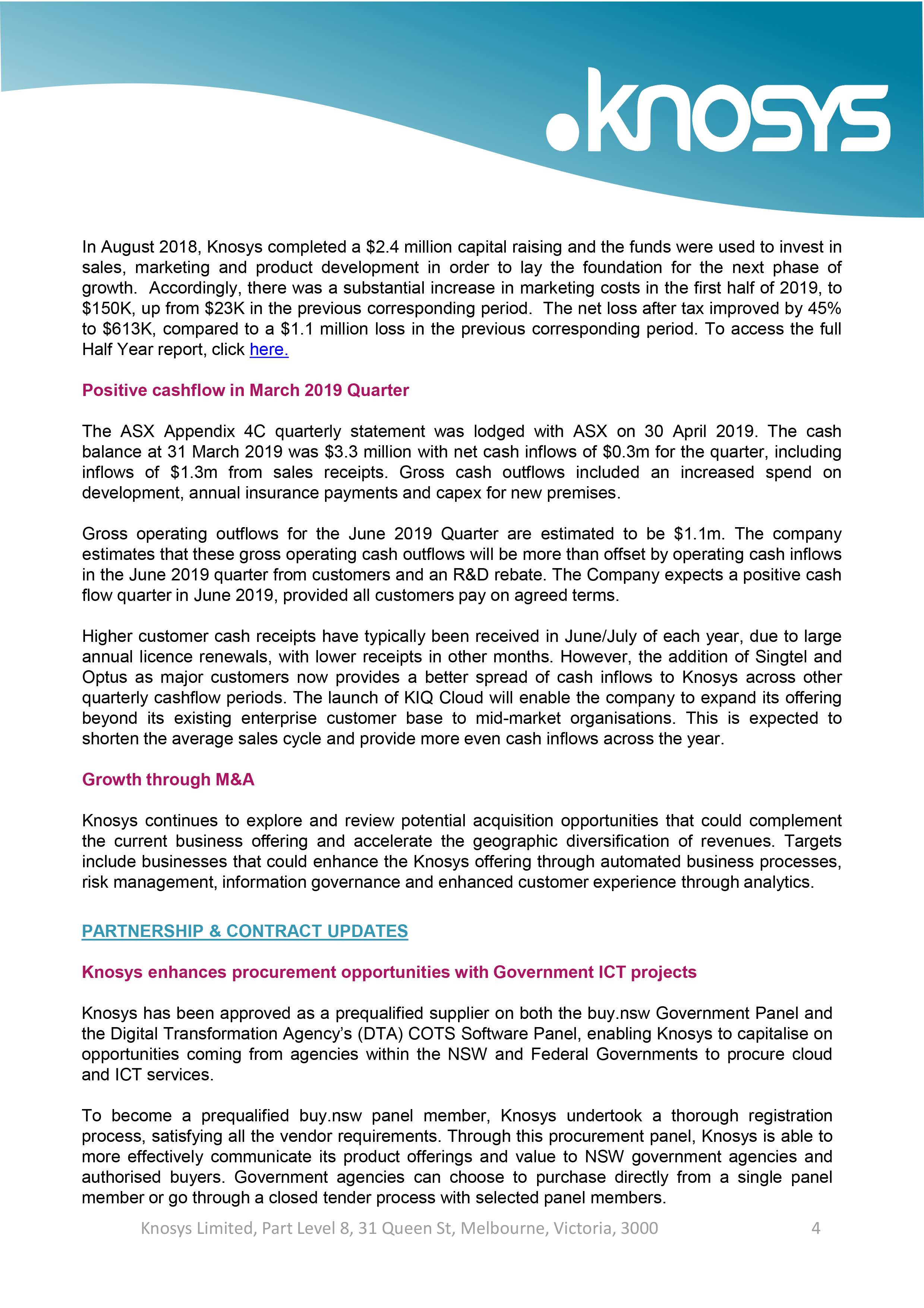 Knosys Investor Newsletter - May 2019-4